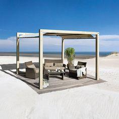 Offener Holzpavillon, Sonnensegel aus reißfester Kunststoffplane, aus hochwertigem Leimholz gefertigt, pulverbeschichtete Stahlrohre