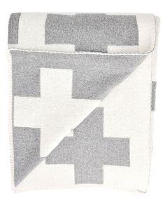 Swiss Cross Reversible Throw // #grey #cream #gifts #home