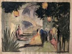 Southern Courtyard With Paper Lanterns by Faith Murray 1930s | Chairish Garden Parties, Paper Lanterns, Set Design, 1930s, Illustration Art, Southern, Scene, Faith, Fine Art