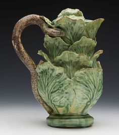 SCARCE ANTIQUE PALISSY WARE MAJOLICA CABBAGE LEAF SNAKE HANDLED EWER 19TH C.