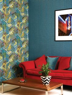 The Mosaic wallpaper designed by Cole & Son is from the Geometric II Collection. Available in four elegant colourings this smart little cube design. Miami Wallpaper, Mosaic Wallpaper, Wallpaper Uk, Classic Wallpaper, Mosaic Artwork, Botanical Wallpaper, Blue And Gold Wallpaper, Cole And Son Wallpaper, Cube Design