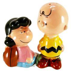 Peanuts Gang Lucy & Charlie Brown Football Ceramic Salt & Pepper Shaker Set