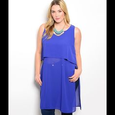 Chiffon High Spilt Top Chiffon Tunic high split sides. material polyester Tops Tunics