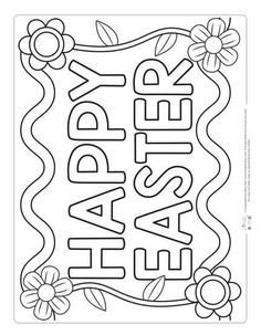Happy Easter Coloring Page for Kids printables Printable Easter Coloring Pages for Kids - Itsy Bitsy Fun Easter Coloring Pages Printable, Easter Worksheets, Easter Bunny Colouring, Easter Egg Coloring Pages, School Coloring Pages, Coloring Pages For Kids, Free Easter Printables, Kids Coloring, Free Coloring