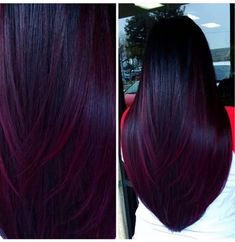 Deep, Wine-Colored Balayage - All For Hair Color Trending Hair Color Purple, Cool Hair Color, Burgundy Hair Ombre, Deep Purple Hair, Dark Burgundy Hair, Burgundy Balayage, Dark Cherry Hair, Red Velvet Hair Color, Black And Burgundy Hair