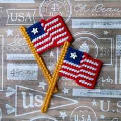 Plastic Canvas: American Flag Magnets (set of 2) by ReadySetSewbyEvie on Etsy