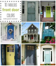 Let's talk front door color! Here are 10 gorgeous front door colors and their paint names, including Behr and Benjamin Moore hues like like Wythe Blue, Hale Navy, Wrought Iron & more.