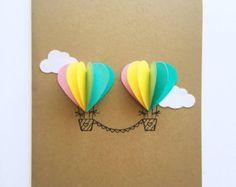 Paar hart hete lucht ballon Card rood / roze door theadoration