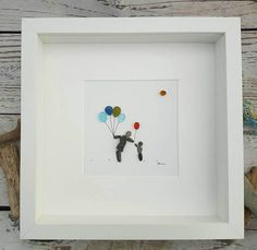Balloon Seller - Picture - Sea Glass Picture  Pebble Art Picture - Children's Bedroom - Famed Picture - Family Gift. Cute picture