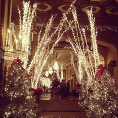 Gorgeous holiday decorations at the Roosevelt Hotel in New Orleans.