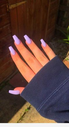 manicure Long nails for Fall season acrylic nails coffin long Acrylic Nails Coffin Short, Purple Acrylic Nails, Best Acrylic Nails, Acrylic Nails For Summer, Square Acrylic Nails, Periwinkle Nails, Acrylic Nails Pastel, Light Purple Nails, Summer Nail Polish