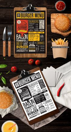 Creative fast-food menu template for your restaurant business with graphic food illustrations - burgers, fries, desserts, drinks. Food Menu Design, Restaurant Menu Design, Restaurant Recipes, Pizza Menu Design, Burger Restaurant, Menu Burger, Burger Recipes, Burger Food, Burger Branding