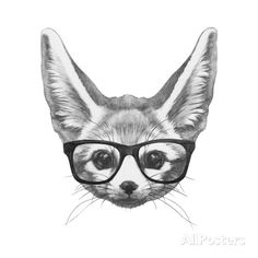 Original Drawing of Fennec Fox with Glasses. Isolated on White Background Prints by victoria_novak at AllPosters.com