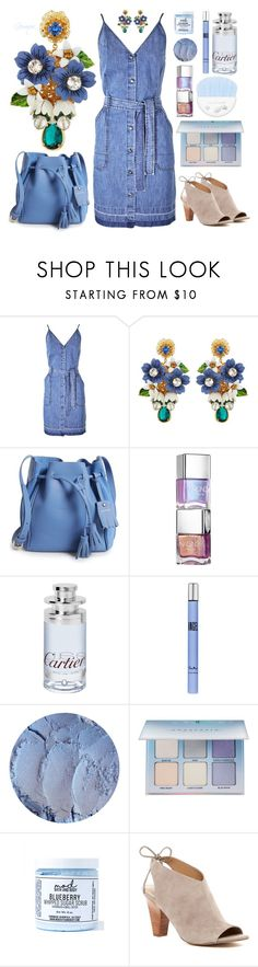 """Flower 💧 Earrings"" by gemique ❤ liked on Polyvore featuring J Brand, Dolce&Gabbana, Longchamp, Cartier, Thierry Mugler, Anastasia Beverly Hills, Mod Bath and Body and Franco Sarto"