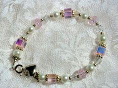 Childs Bracelet Pearls Pink Swarovski by JulieButlerCreations, $12.50