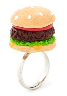 Polymer Clay Hamburger Ring. All I need is a ring base!   Grill Next Door Ring | Mod Retro Vintage Rings | ModCloth.com