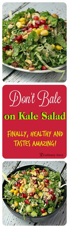 Don't Bale on Kale Salad is healthy and tastes FANTASTIC!  Surprising crunchy, sweet and tart ingredients that make this the best kale salad you've ever tried!