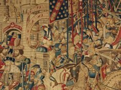 War of troy tapestry by Victoria and Albert Museum. Lynda Hillyer: This is one third of a very important 15th Century tapestry which measures 7.5 metres by 4 metres. It was woven in Tournai in Northern France in the 15th century. The whole set was eleven tapestries, so it was an enormous amount of wall covering.