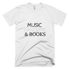 Music, Chocolate Books Short Sleeve Men's T-shirt (27 CAD) ❤ liked on Polyvore featuring men's fashion, men's clothing, men's shirts, men's t-shirts, mens t shirts, colorful mens dress shirts, mens short sleeve t shirts and mens short sleeve shirts