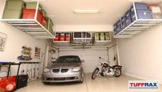 Get your garage shop in shape with garage organization and shelving. They come with garage tool storage, shelves and cabinets. Garage storage racks will give you enough space for your big items and keep them out of the way. Overhead Garage Storage, Garage Storage Solutions, Storage Ideas, Storage Racks, Wall Storage, Diy Garage Storage Lift, Shelf Ideas, Diy Storage, Garage Ceiling Storage