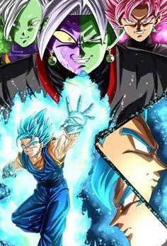 Vegito vs Black Goku and Zamasu fusion