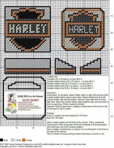 Discover thousands of images about Harley Davidson coasters Plastic Canvas Coasters, Plastic Canvas Ornaments, Plastic Canvas Tissue Boxes, Plastic Canvas Christmas, Plastic Canvas Crafts, Plastic Canvas Patterns, Beaded Cross Stitch, Cross Stitch Patterns, Canvas Designs