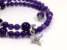Gemstone Rosary Bracelet - St. Brigid, Amethyst, Five Decade, Stainless Steel Memory Wire, Rosary Bracelet by Belladonna's Shoppe