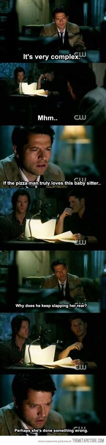 Loved that scene! Cas and the pizza man