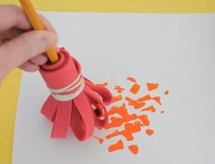 great pics: How to make your own silly paintbrushes (from the studio art blog at the Eric Carle Museum)
