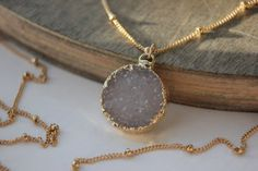 Hey, I found this really awesome Etsy listing at https://www.etsy.com/listing/176393168/circle-druzy-necklace-14k-gold-filled