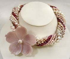 Freshwater Pearl Torsade Twisted Multistrand Necklace Pink and White. $295.00, via Etsy.