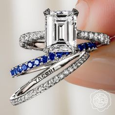 @tacori emerald cut diamond engagement ring with stackable bands, available at Diamonds Direct. #tacori #emerald #emeraldcut #diamond #engagementring #stack #stackable #bands #weddingbands #pave