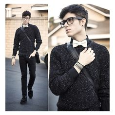 bowtie Calm before the storm ❤ liked on Polyvore featuring adam gallagher, man, outfits and people