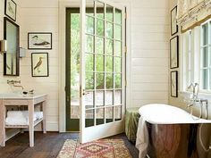 Cool Bathroom with door to outside