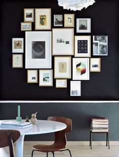 Black wall and frames #living_room