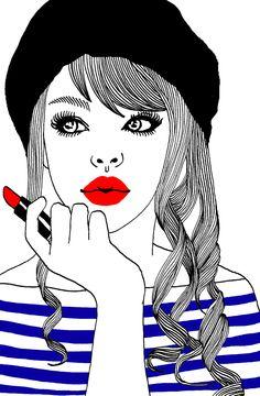 Hajin Bae sailor paris girl illustration