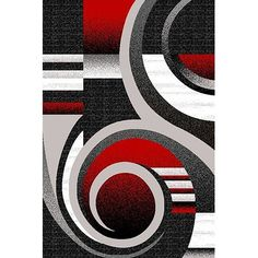 PlanetRugs Inc Premium Effect Hand Carved Modern Abstract Colorful Luxury Rug for Bedroom, Living Room, Dining Room Contemporary 1509 Red Grey Gray Black And Red, Geometric Art, Abstract Art Painting, Art Painting, Painting, Abstract Art, Hand Carved, Canvas Art, Abstract