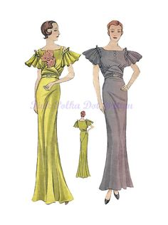 Vintage 1930s Simplicity 1370 Misses Elegant Slim Fitted Draping Evening Gown with Butterfly Sleeves Sewing Pattern Size 16