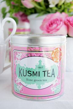 Kusmi Tea Rose green tea tin ... pink, green and white label on silver canister shape, friction cap lid, 2015, France