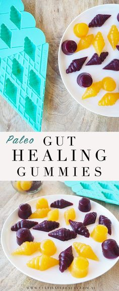 Paleo Gut Healing Gummies: the perfect healing treat! Packed with gelatin for gut health, and sweetened naturally with fruit and stevia. One of our favourites to make on the weekend!