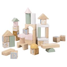 Clas Ohlson ® Natural Wooden Blocks, Made of FSC Wood, 60 Building Blocks Multicolored and Stackable, for Ages 18 months+ Wooden Building Blocks, Wooden Blocks, Serving Trolley, Fredrikstad, Wooden Buildings, Scandi Style, Lund, Made Of Wood, Classic Toys