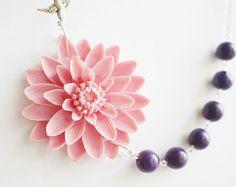 Declaración collar collar rosa polvoriento collar de por RachelleD