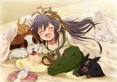 ANIME ART Animals With Anime Girl Dog