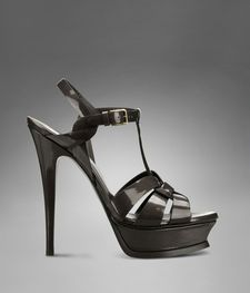 YSL Tribute High Heel Sandal in Anthracite Textured Patent Leather
