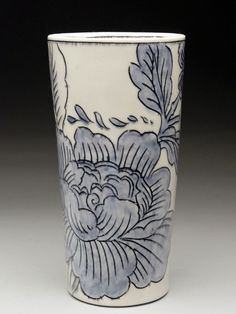 Molly Hatch Floral Pattern Porcelain Beaker at MudFire Gallery