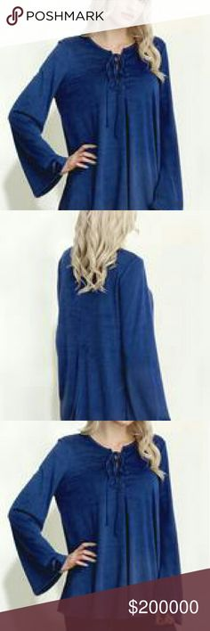 🍁Fall Sale🍁Blue Suede Lace up Blouse Adorable Blue Suede Lace Up Blouse. 96% Polyester and 4% Spandex. Sale through Sunday Tops Blouses