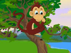 Picture of the clever monkey -  the monkey and crocodile  story from the Panchatantra