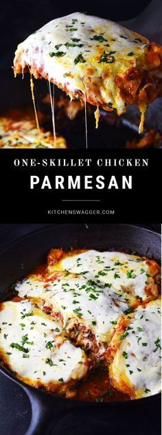 Classic chicken parmesan prepared in a single cast iron skillet.