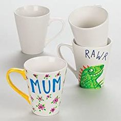 White Mugs - 4 Large Porcelain Mugs to Paint & Decorate. Ideal for crafting. - White Mugs – 4 Large Porcelain Mugs to Paint & Decorate. Ideal for crafting. Fun Easy Crafts, Crafts For Kids, Arts And Crafts, Children Crafts, Mug Crafts, Sand Crafts, Pop Out Cards, Porcelain Pens, Mother's Day Mugs