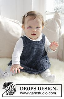 Knitted dress with lace pattern and garter stitch for baby. Size 0 - 4 years Piece is knitted in DROPS Alpaca.